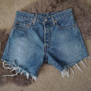"""Levi's 501 Longer Cut Off High Rise Shorts 26"""""""